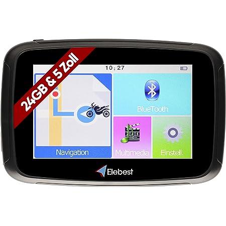 Elebest Rider W5 Navigationsgerät 5 Zoll 12 7 Cm Touchscreen Motorrad Pkw Bluetooth Wasserdicht Neuste Europa Karten Radarwarner 24gb Speicher Blitzerwarnung Inkl Halterung Navigation
