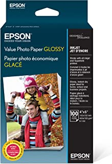 """Epson Value Photo Paper Glossy, 4""""x6"""", 100 Sheets (S400034)"""