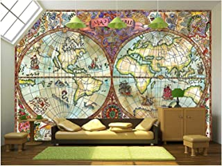 wall26 - Illustration - Vintage Illustration with World Atlas Map on Antique Paper. Pirate Adventures - Removable Wall Mural | Self-Adhesive Large Wallpaper - 100x144 inches