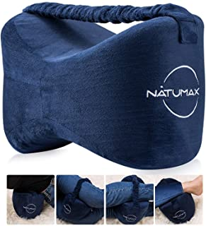 NATUMAX Knee Pillow for Side Sleepers - Sciatica Pain Relief - Back Pain, Leg Pain, Pregnancy, Hip and Joint Pain Memory Foam Leg Pillow + Free Sleep Mask and Ear Plugs