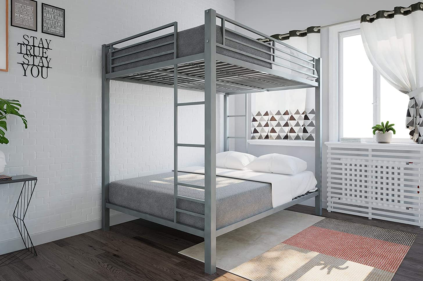 DHP Full Over Full Metal Bunk Bed, Sturdy Frame with Metal Slats, Silver