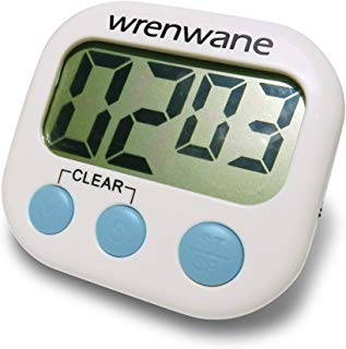 Wrenwane Kitchen Timer (Upgraded), No Frills Simple Operation, Big Digits, Loud Alarm, Magnetic Backing, Stand, White