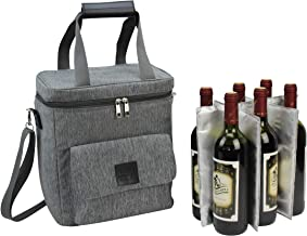 Wine Carrier 6 Bottle Capacity | Highest Quality Wine Bag for Wine Lover Gifts for Travel Beach and Picnic | Insulated Wine Tote Bag with Handle and Shoulder Strap | Padded Wine Cooler Bag | Wooden H