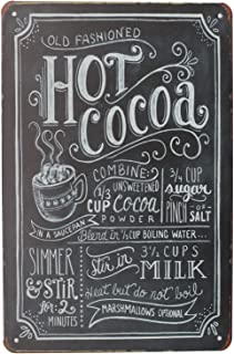 SUMIK Hot Cocoa, Metal Tin Sign, Vintage Art Poster Plaque Kitchen Home Wall Decor