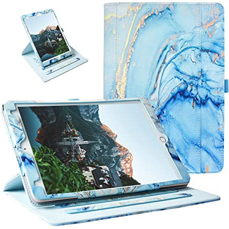 ZoneFoker Case for New iPad 8th / 7th Generation Case, iPad 10.2 Case, 360 Protection Multi-Angle Viewing Stand Leather Cover with Pencil Holder for iPad 10.2 inch 2020/2019 8th/7th Gen - Marble Blue