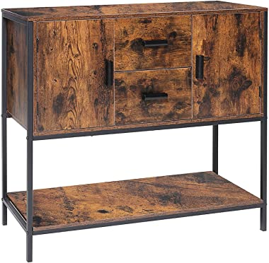 USIKEY Storage Cabinet, Floor Cabinet and Sideboard with 2 Drawers & Doors and 1 Open Shelf, Industrial Buffet Cabinet wi