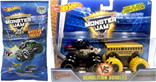 Monster Jam 2017 Demolition Doubles Hot Wheels 1:64 Scale Higher Education School Bus VS Pirate's Curse & Mystery Blind Bag Mini Monster Truck with Launcher