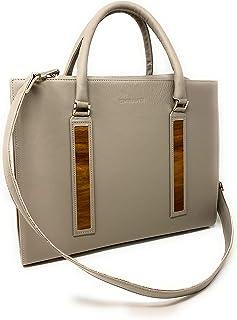EMBAWO ALE borsa donna uomo da lavoro, briefcase, 24 ore, a tracolla e a mano - vera pelle italiana colore beige taupé ed ...