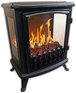Cheminu0027Arte 139 3D Fire Glass Cheminée électrique, Noir, 45x29x55cm