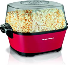 Hamilton Beach Electric Hot Oil Popcorn Popper, Healthy Snack Maker, 24 Cups, Red (73302), (Renewed)