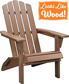 PolyTEAK Classic Folding Poly Adirondack Chair, Walnut Brown | Adult-Size, Weather Resistant, Made from Plastic