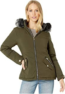 Reversible Polyfill Jacket with Faux Fur Trim Hood Olive/Black XL
