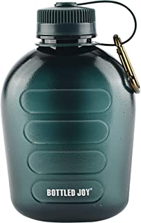 BOTTLED JOY Military Canteen Water Bottle, Plastic Tritan Sports Water Bottle Portable with Strap for Hiking Camping, 1 Quart
