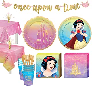 Party City Disney Princess Snow White Tableware Kit for 16 Guests, Includes Cups, Cutlery, Napkins, Plates, and Decor