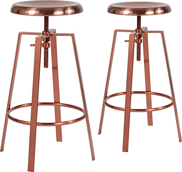 Flash Furniture 2 Pk Toledo Industrial Style Barstool With Swivel Lift Adjustable Height Seat In Rose Gold Finish