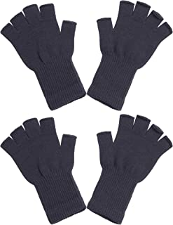 Cooraby 2 Pairs Unisex Half Finger Gloves Winter Stretchy Knit Fingerless Typing Gloves