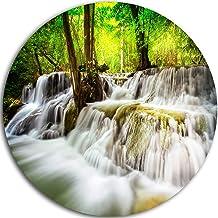 Designart Erawan Waterfall Landscape Photo Metal Artwork - Disc of 11 inch, 11'' H x 11'' W x 1'' D 1P, Gray/Green