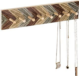 MyGift 8-Peg Chevron Wood Design Wall-Mounted Necklace Rack