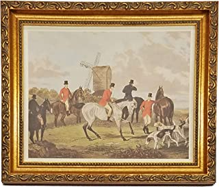 TheShoppe-USA The Meet - English Fox Hunt Scene Picture - Beagle Horses Bugles Creek - Antique Gold Frame