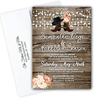 Wedding Invitations Rustic Country Western Boots Set of 50