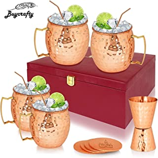 Buycrafty Moscow Mule Copper Mugs Set of 4 +4 Copper Straws+4 Coasters + 1 Double Shot Mug with Beautiful Gift Box