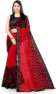 Neerav Exports Embroidery Net Work Saree (Red)