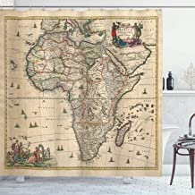 Ambesonne Antique Decor Collection, Old Map of Africa Continent Ancient Historic Borders Rustic Manuscript Geography Image, Polyester Fabric Bathroom Shower Curtain, 75 Inches Long, Ivory