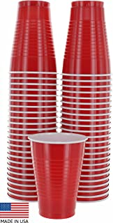 Amcrate Red Colored 12-Ounce Disposable Plastic Party Cups - Ideal for Weddings, Party's, Birthdays, Dinners, Lunch's. (Pack of 50)