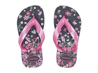 Havaianas Kids Flores Sandals (Toddler/Little Kid/Big Kid) (Navy/Pink) Girls Shoes