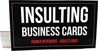 Offensive Business Cards, Full Color, Set of 50 with 10 Different Insults + 1 Bonus Card, Pranks and Jokes, Adults Only