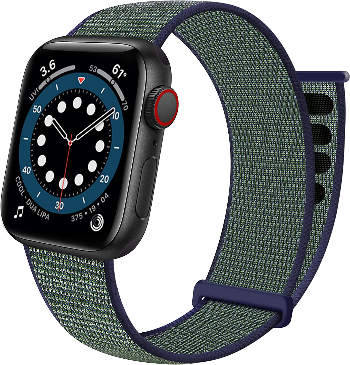 Sport Loop Band Compatible with Apple Watch Band 38mm 40mm 41mm 42mm 44mm 45mm iWatch Series 7 6 5 SE 4 3 2 1 Strap, Nylon Velcro Women Men Stretchy Elastic Braided Replacement Wristband Breathable