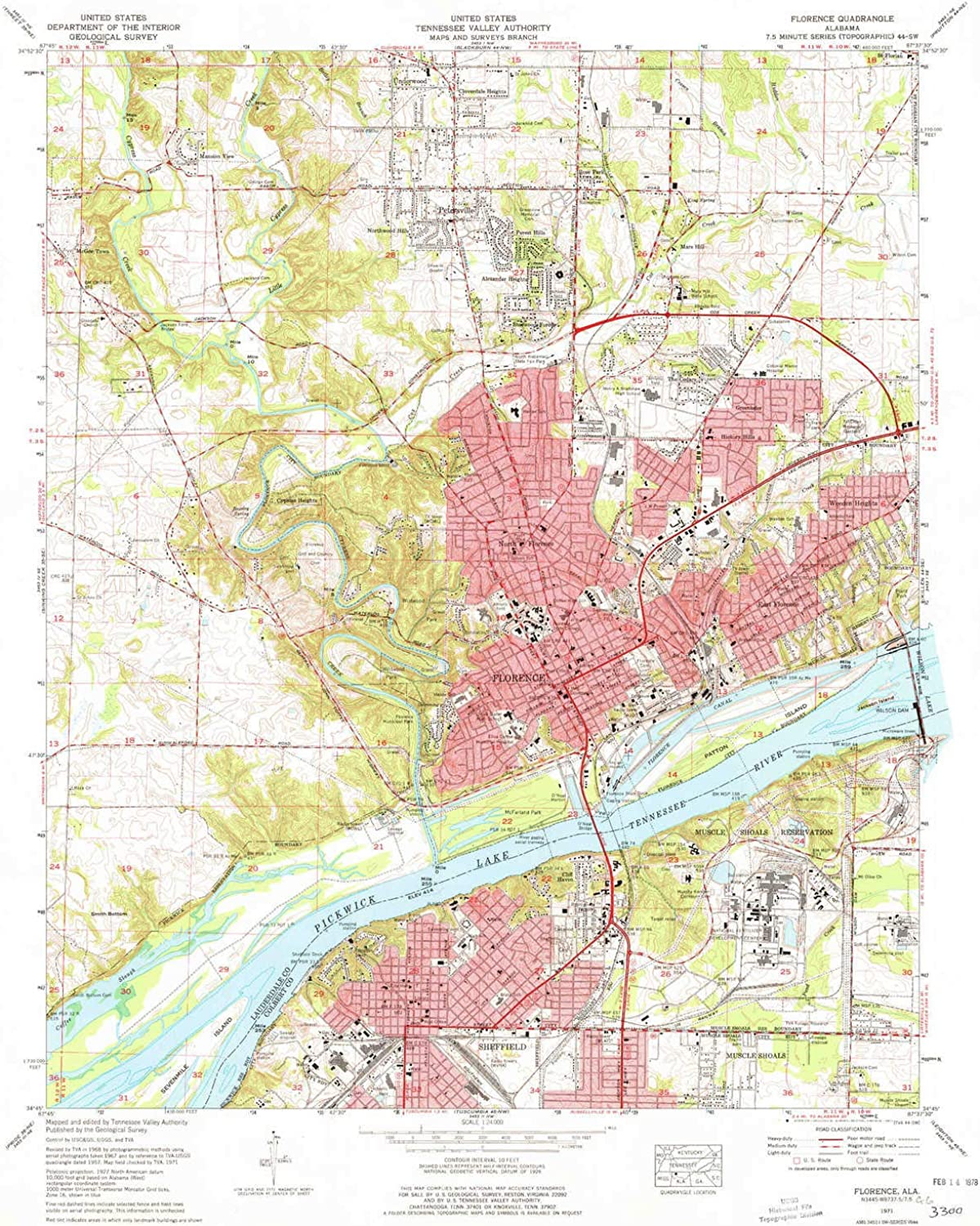 Florence AL topo map, 1 24000 Scale, 7.5 X 7.5 Minute, Historical, 1971, Updated 1977, 26.9 x 21.9 in