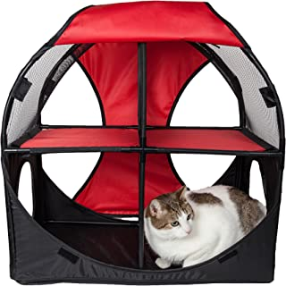 PET LIFE 'Kitty-Play' Collapsible Travel Interactive Kitty Cat Tree Maze House Lounger Tunnel Lounge, One Size, Red and Black