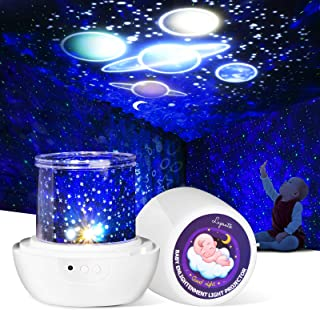 Night Light Projector for Kids, with 12 Films of Early Education, Lupantte 360 Rotating Star Galaxy Light Projector for Ba...