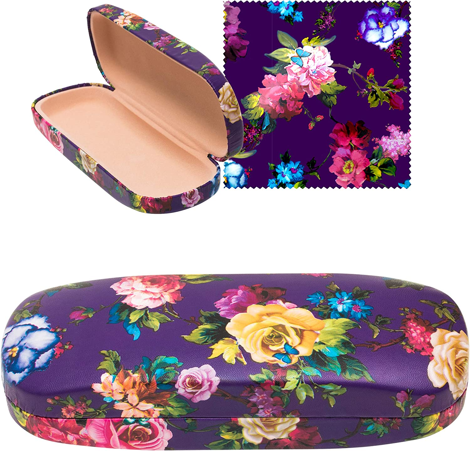 Floral Hard Shell Eyeglass Case Holder with Matching Microfiber Cleaning Cloth