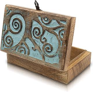 Great Birthday Gift Handmade Decorative Wooden Jewelry Box With Tree Of Life Carving & Lock & Key Jewelry Organizer Keepsa...