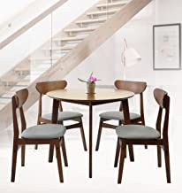 SK New Interiors Rattan Wicker Furniture Set of 5 Dining Kitchen Round Table and 4 Yumiko Side Chairs Solid Wood w/Padded Seat Medium Brown