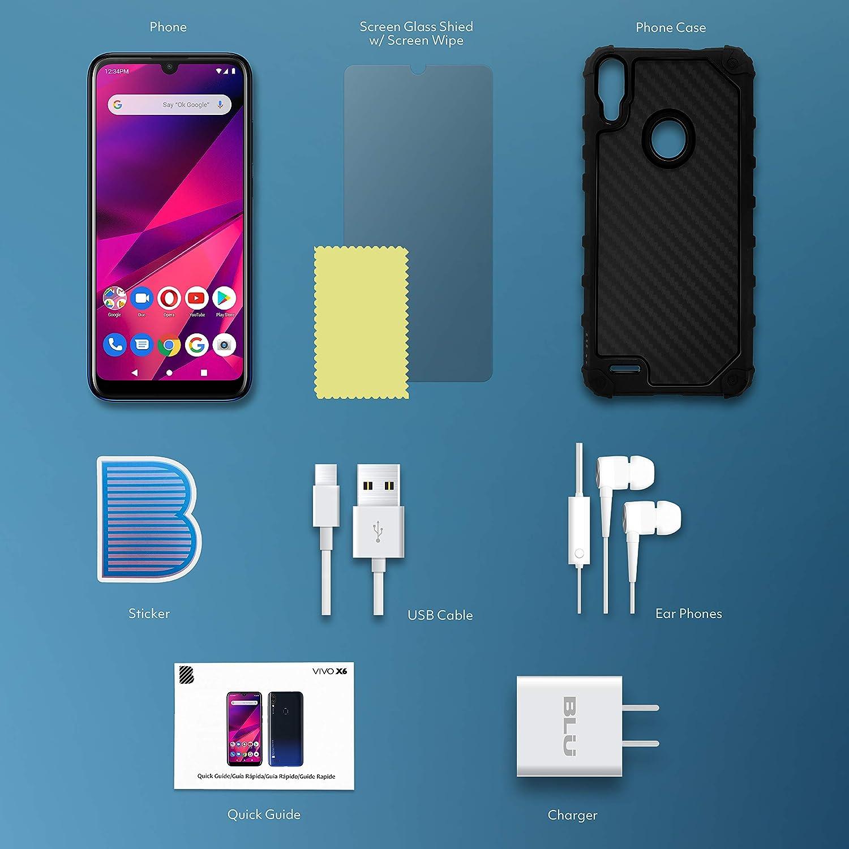 "BLU VIVO X6 | 2021 | All Day Battery | Unlocked | 6.1"" HD+ Display | 64GB | Dual 13 MP Camera | US Version | US Warranty | Black"