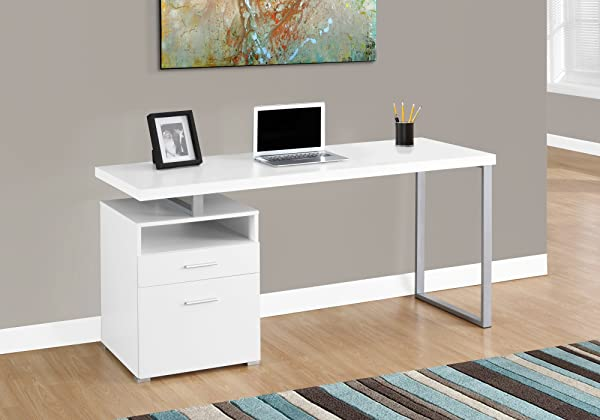 Monarch Specialties 7144 Computer Writing Desk For Home Office Laptop Table With Drawers Open Shelf And File Cabinet Left Or Right Set Up 60 L White