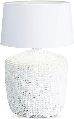 Relaxdays Lampe de table herbe de mer lampe de chevet bureau abat-jour blanc coton design maritime rustique Shabby Chic liseuse lecture HxlxP: 68 x 45,5 x 45,5 cm taille grande lampe ambiance, blanc