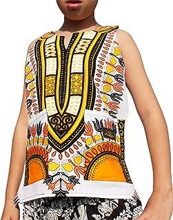 Raan Pah Muang Brand Dashiki Childrens Cotton Summer Vest Shirt in White Base