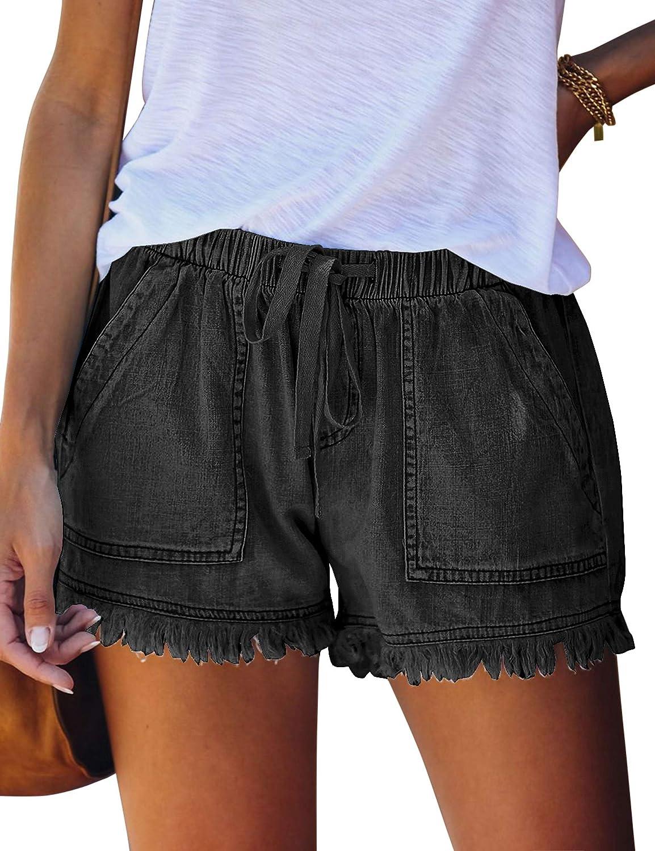 LUYEESS Casual Elastic Waist Jean Shorts for Women, High Rise Drawstring Denim Shorts