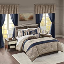 MPE10-814 Classic Luxe All Season Down Alternative Bed Set with Bedskirt, Matching Curtains, Decorative Pillows, Cal King(...