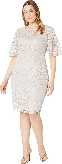 Plus Size Lace Flutter Sleeve Cocktail Dress