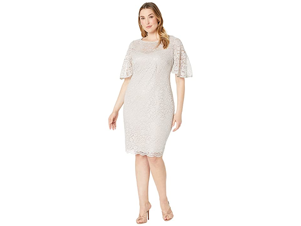 Adrianna Papell Plus Size Lace Flutter Sleeve Cocktail Dress (Icy Lilac) Women