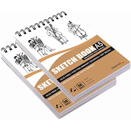 Askprints 50 Sheet A5 Sketchbook Set of 2-5.8 x 8.3 Inch | Top Spiral-Bound Sketchpad for Artists | Sketching and Drawing Acid Free Paper, for Doodling