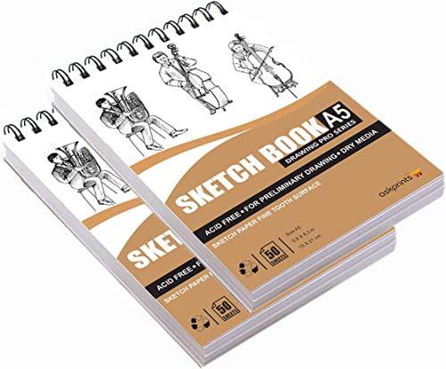 Askprints 50 Sheet A5 Sketchbook Set Of 2 5 8 X 8 3 Inch Top Spiral Bound Sketchpad For Artists Sketching And Drawing Acid Free Paper For Doodling