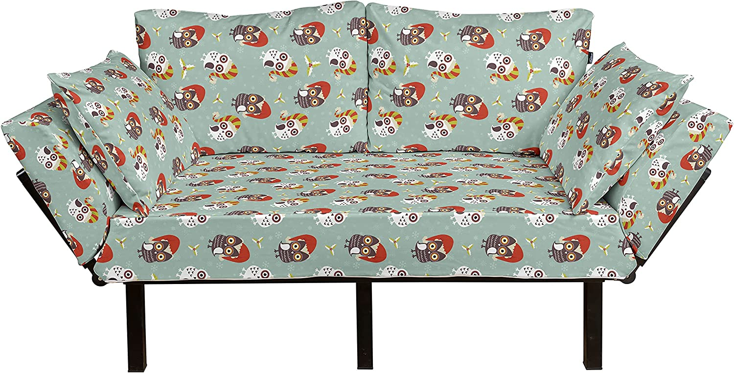Quantity limited Ambesonne Christmas Futon Couch Los Angeles Mall Owls in Ready Hats Xmas Par for