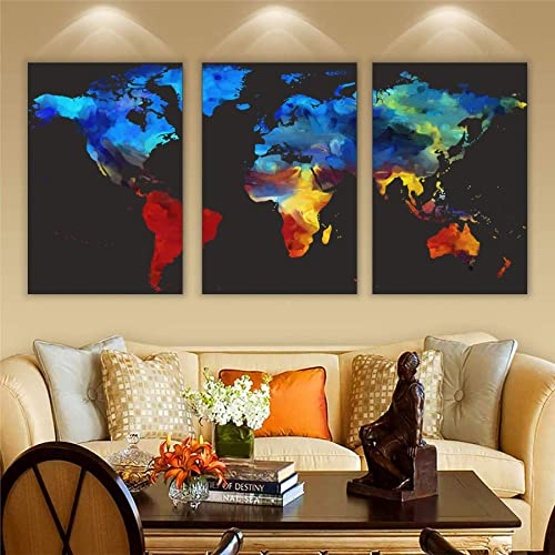 Wall Attraction World Map Oil Paint MDF Framed Painting for Home Decoration Gifting 3D Unique 12 inch x 18 inch Each Frame Size Set of 3 Water Proof Wall Hanging