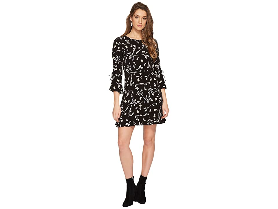Lucky Brand Bell Sleeve Dress (Black Multi) Women